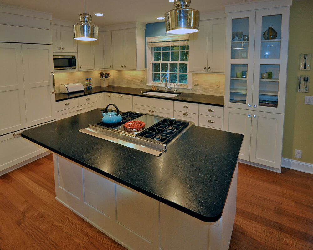Kitchen remodel in Maple Bluff, Wisconsin by TDS Custom Construction. Cabinets by Woodharbor Custom Cabinetry.