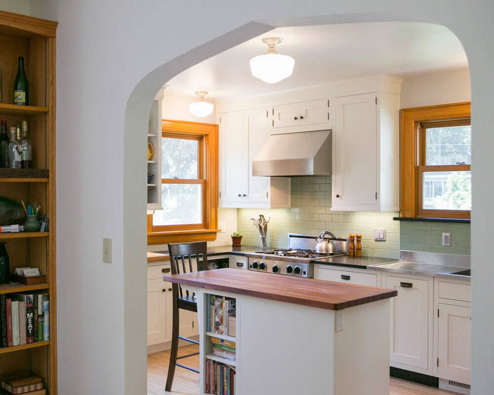 Kitchen remodel that opened up the area between dining room and kitchen in Madison, WI
