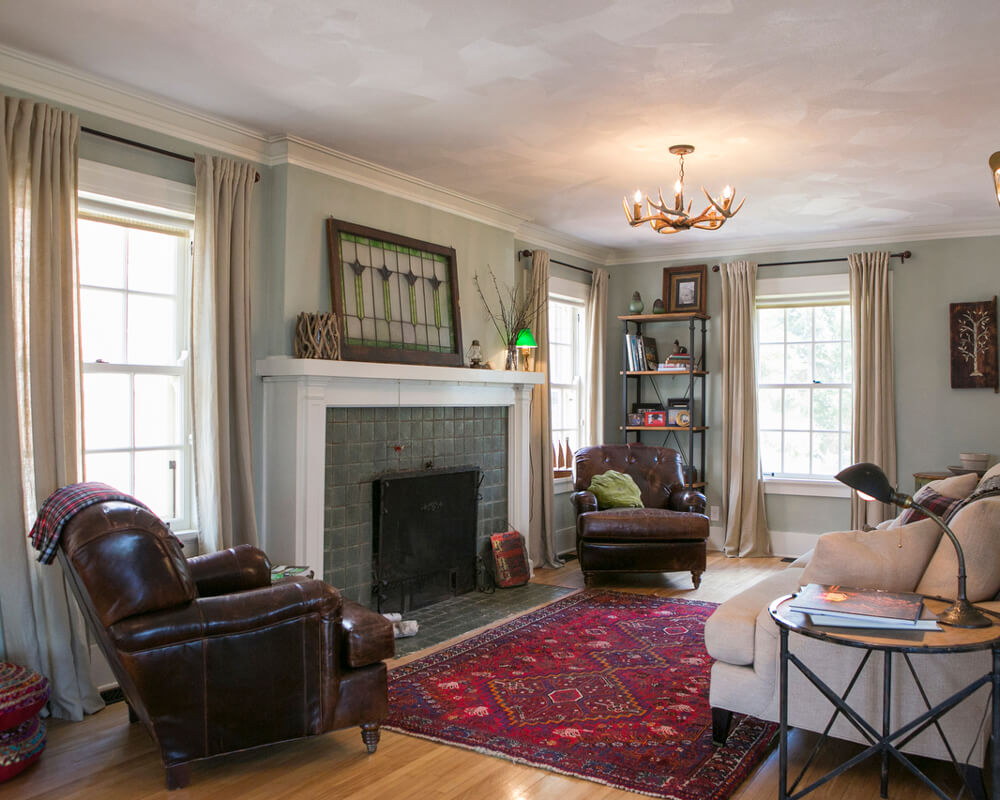 Living room view of the historic preservation of a Madison, Wisconsin 1920's lakeside home.
