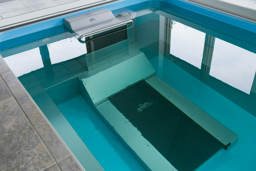 Underwater treadmill in the pool addition in this new home in Oregon, WI.