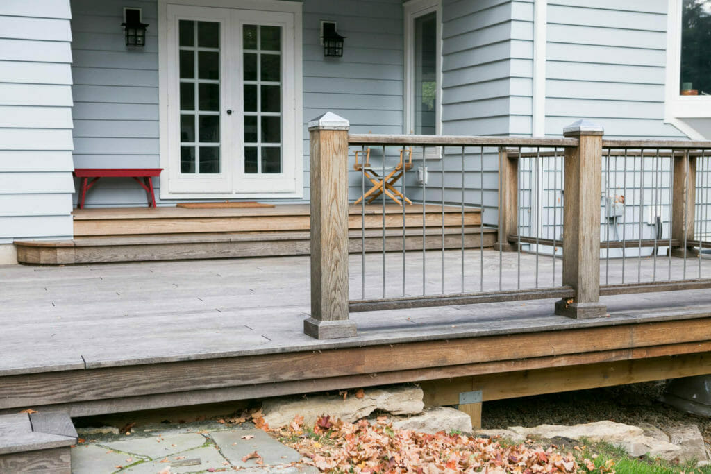TDS Custom Construction added a thermally modified wood deck for this whole home remodel in Maple Bluff, WI.