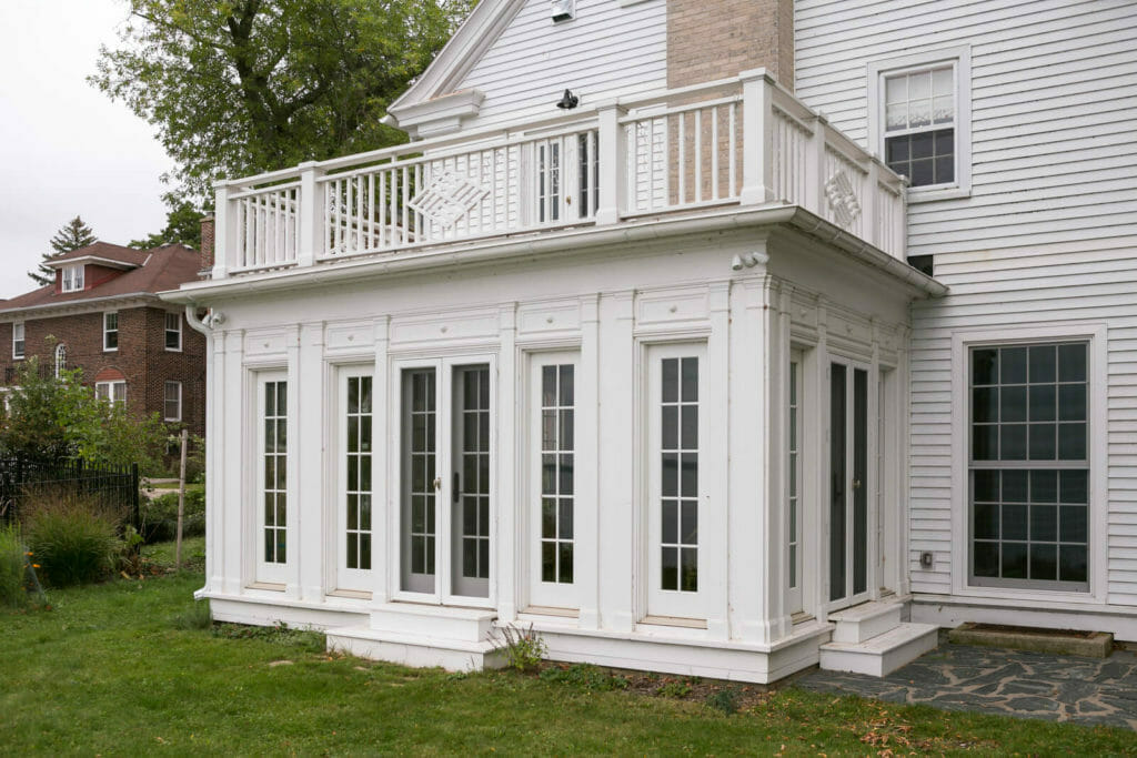 TDS recreated this original sun porch from an old photo for the historic restoration of a 1922 Frank Riley Colonial Revival home on the Isthmus in Madison, Wisconsin.