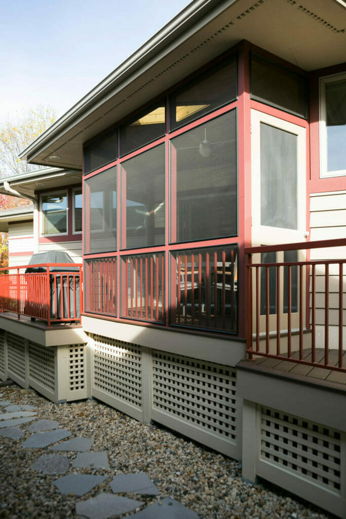 Screen porch and deck added to a new Middleton, Wisconsin home by TDS Custom Construction.