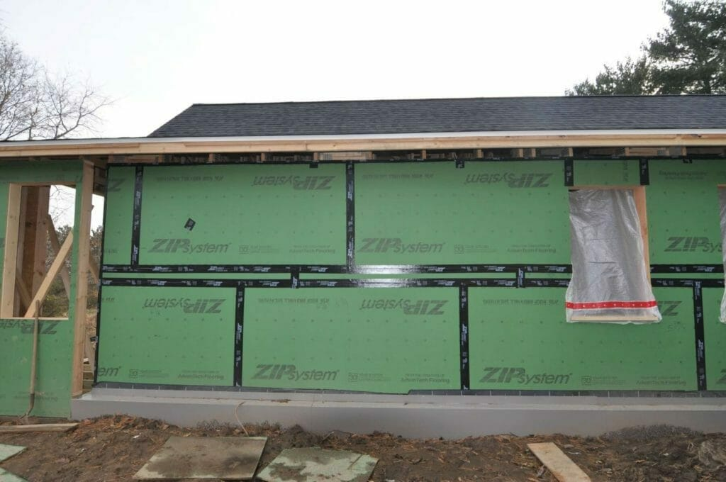 ZIP sheathing installed on 2x8 framing, taped and sealed to create the air barrier on a passive high performance home built by TDS Custom Construction in McFarland, WI