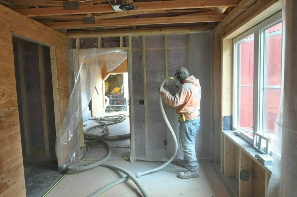 Cellulose insulation was dense-packed in a passive house built by TDS Custom Construction in McFarland, Wisconsin
