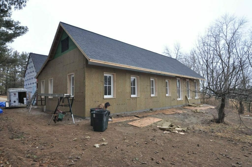 Roxul installation complete on a passive house built by TDS Custom Construction in McFarland, Wisconsin