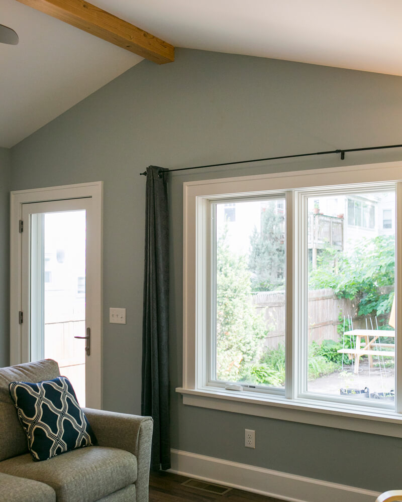 A bright and inviting family room addition with lofted ceilings built by TDS Custom Construction in the Schenk Atwood neighborhood of Madison, WI.