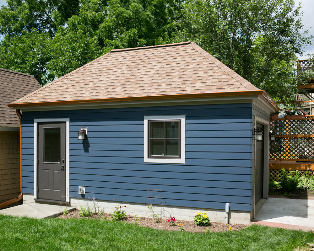 Charming and practical small garage built by TDS Custom Construction in Madison, WI.