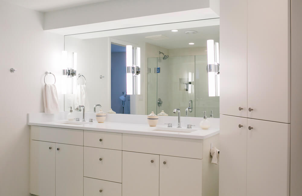 A newly remodeled bathroom in a 1950's Nakoma ranch, as part of a kitchen remodel done by TDS Custom Construction.