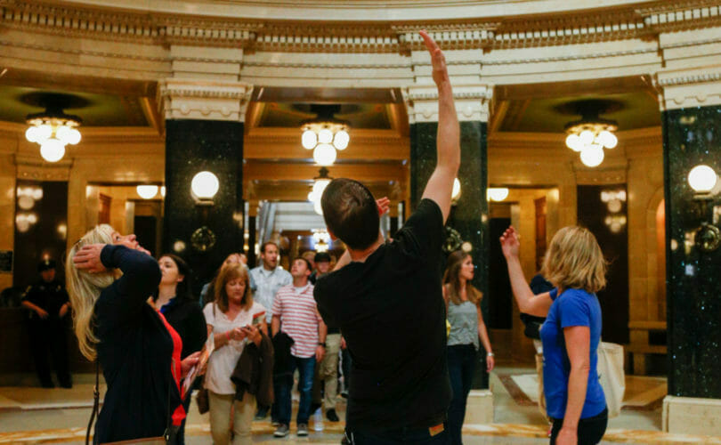 Food and drink group tour inside Capital rotunda in Madison, Wisconsin