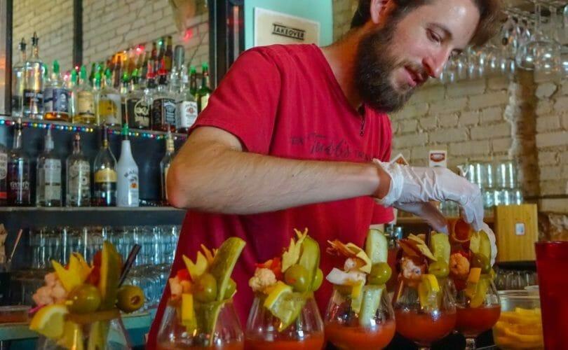 Tex Tubbs bartender making bloody marys
