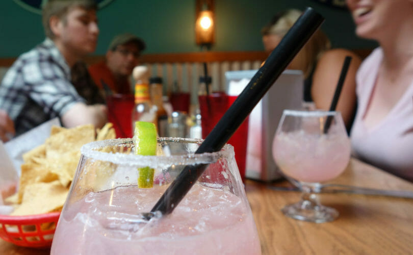 Margaritas at dining table with guests