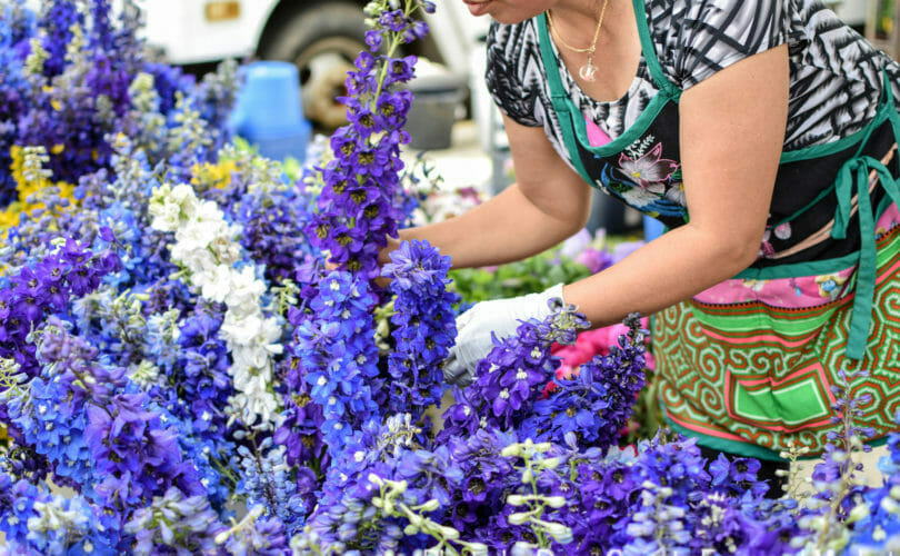 Florist setting up flowers