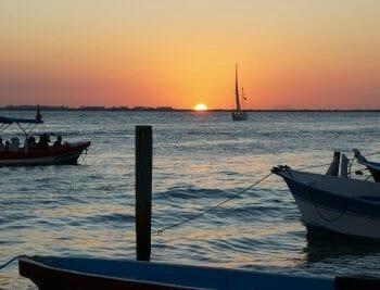 Sunset at lake pier
