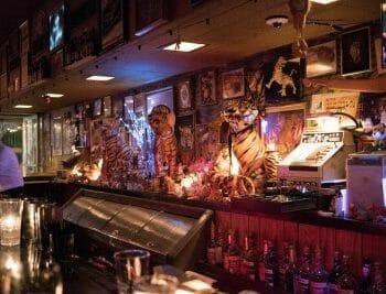 Behind the bar at Le Tigre Lounge