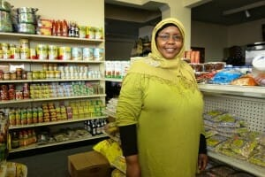 Grocer at African grocery store