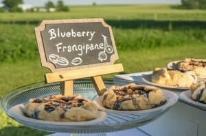 Platter of blueberry frangipanes on display at local farm