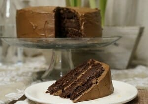 Chocolate cake on cake platter with slice on plate