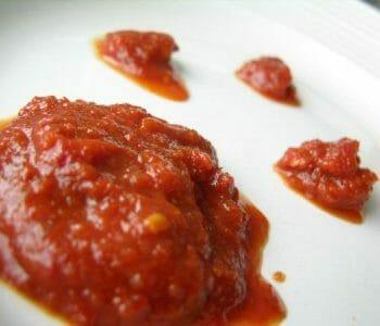 Enchilada sauce on plate