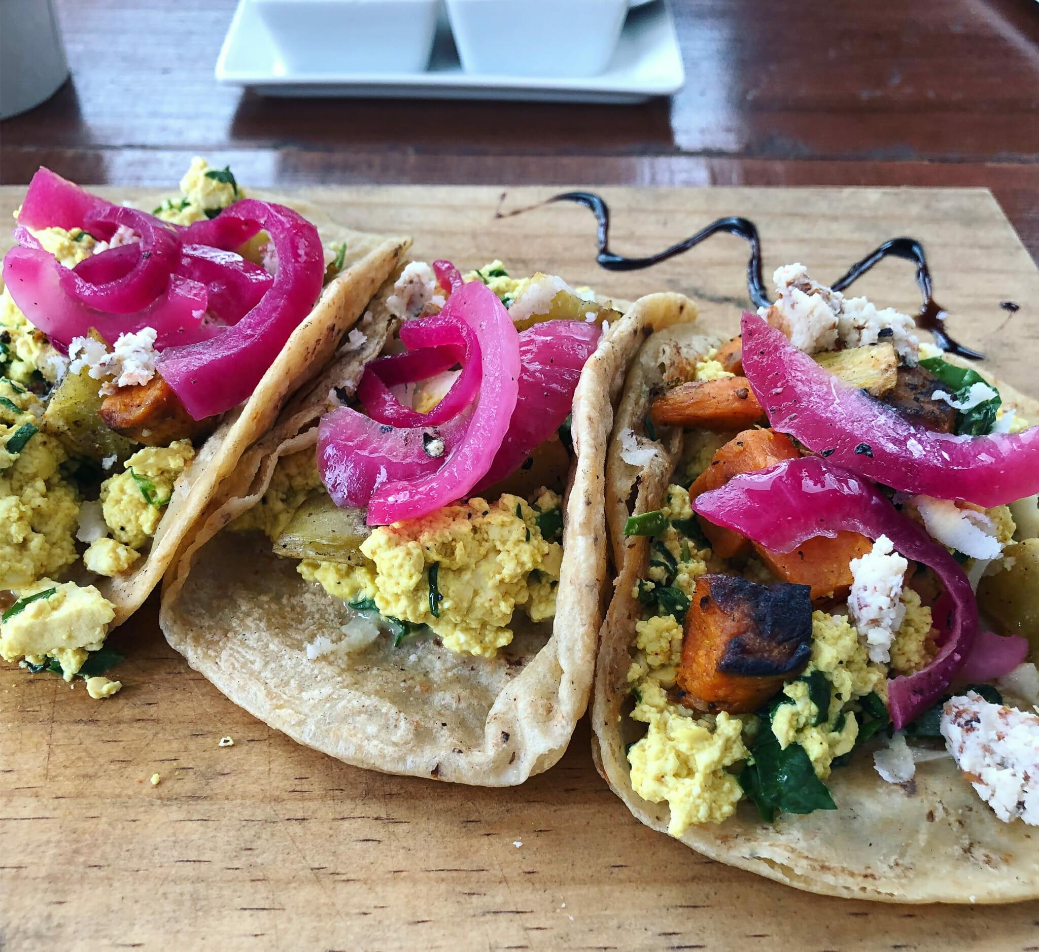 Breakfast tacos from Chaya & Cacao