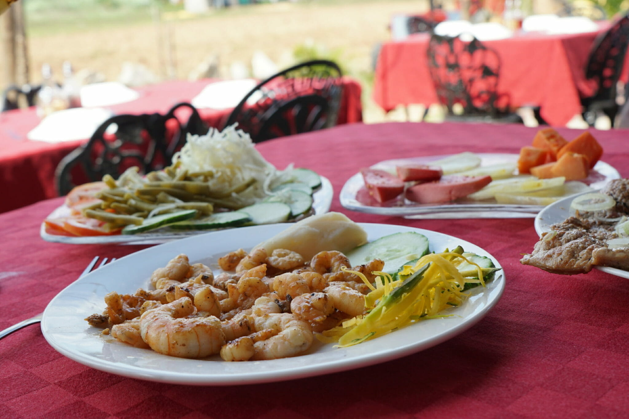 Plates of veggies and shrimp entree from Cuban food and culture tour