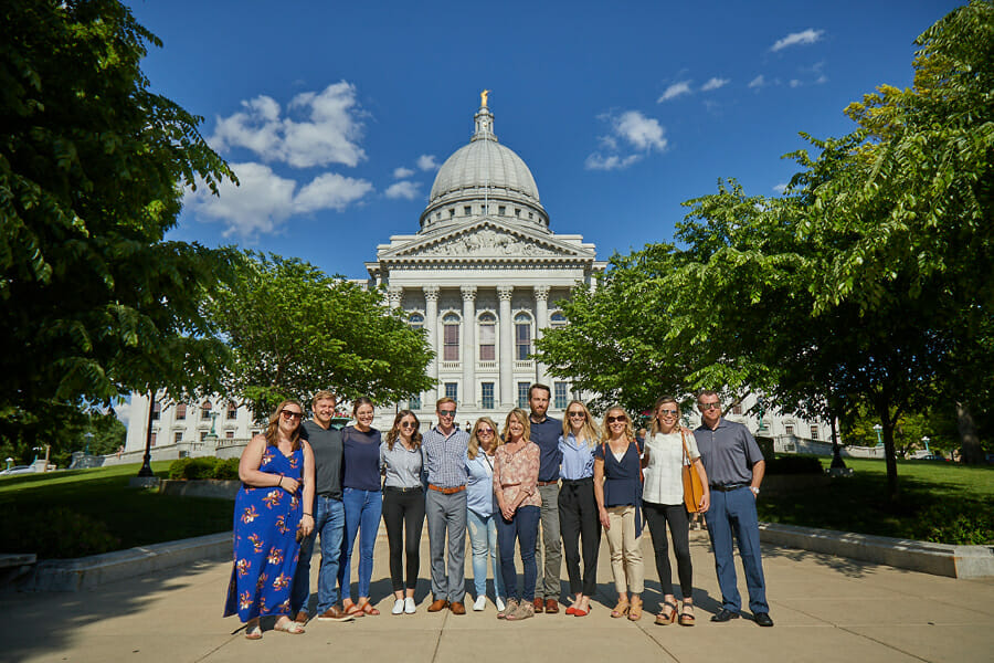 Food tour in front of Capitol in Madison, Wisconsin