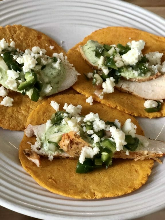 Spring Tacos – with Achiote Chicken, Ramp Pico and Sweet Potato Tortillas