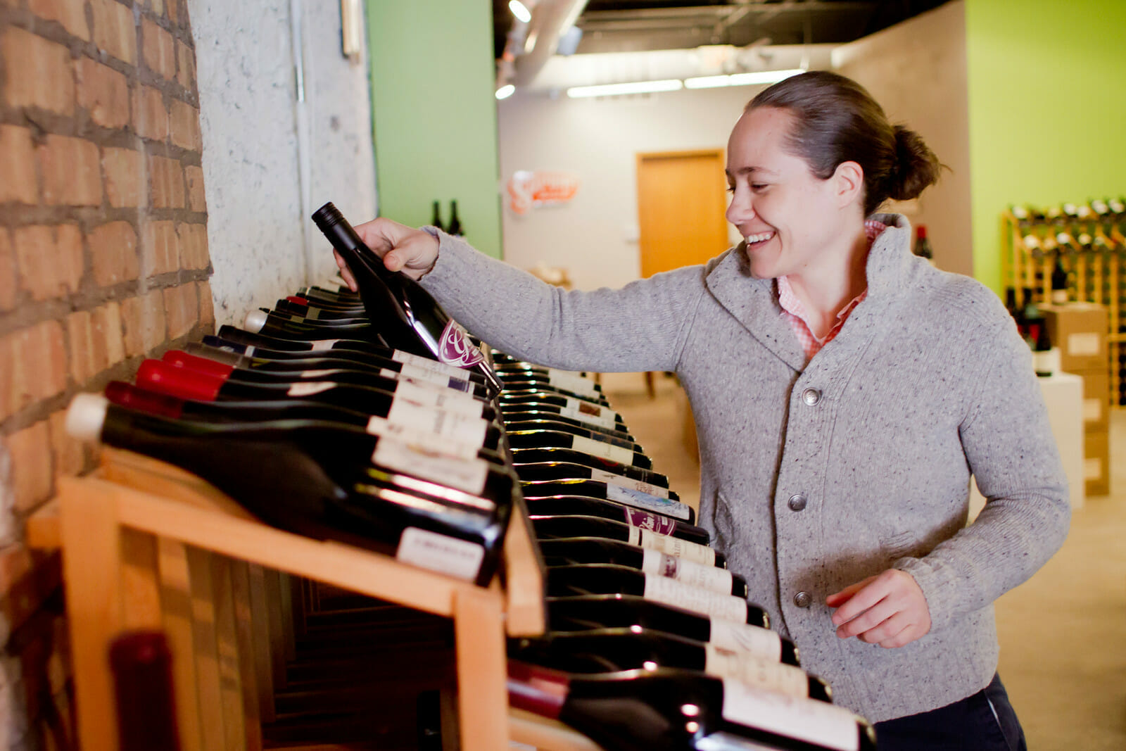 Andrea selecting wine