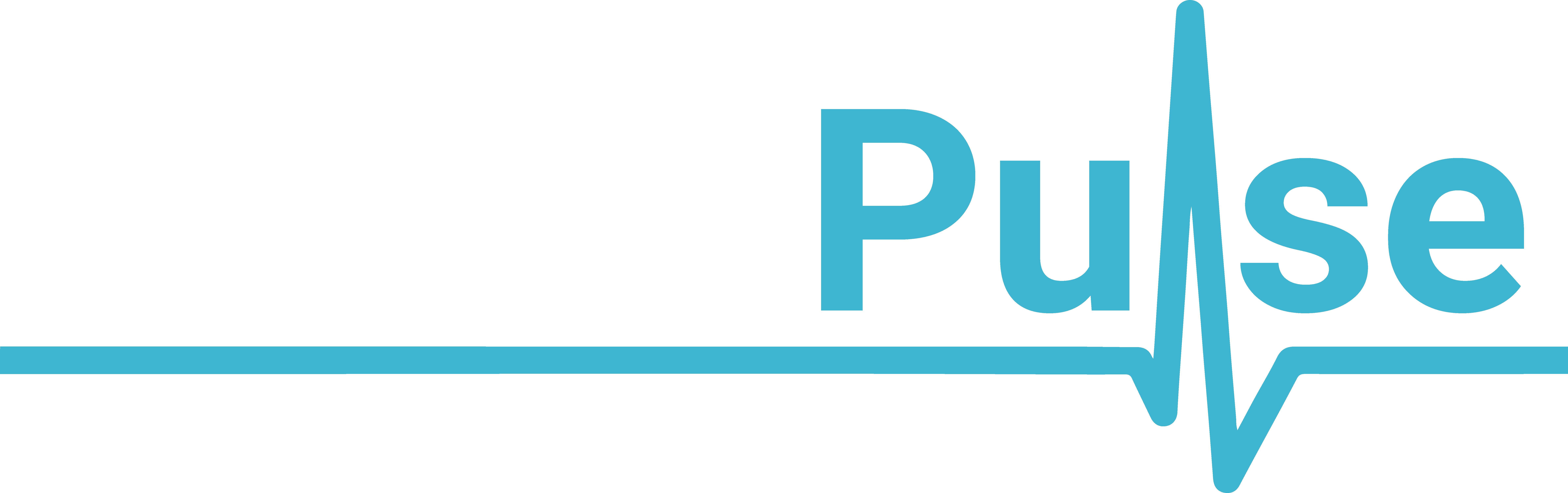RehabPulse logo with white and blue text.