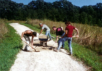 People working on building the Prairie Trail